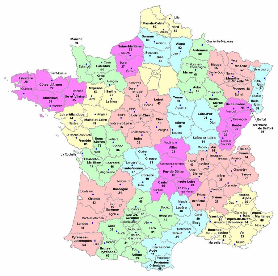 Mapa Departamentos Francia  My blog